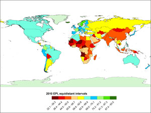 Global map showing overall Environmental Performance Index (EPI)
