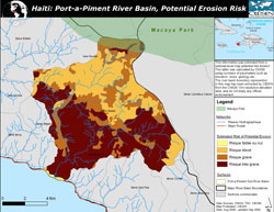 Map of potential erosion risk in Port-a-Piment area of Haiti