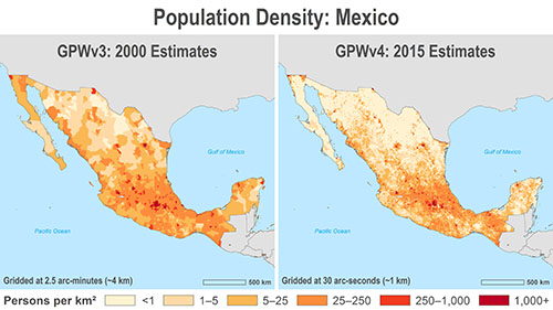 Comparison of population density in Mexico: GPWv3 estimates in 2000 (on the left) and GPWv4 estimates on the right (2015)