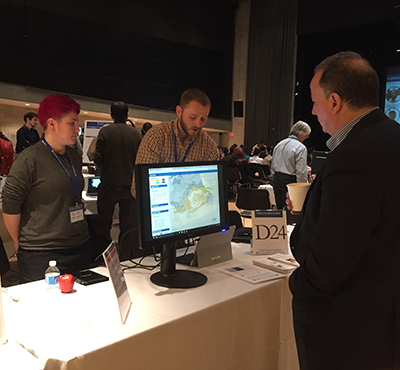 CIESIN staff demonstrate mapping tool AdaptMap at Data Science Day, April 5, Columbia University