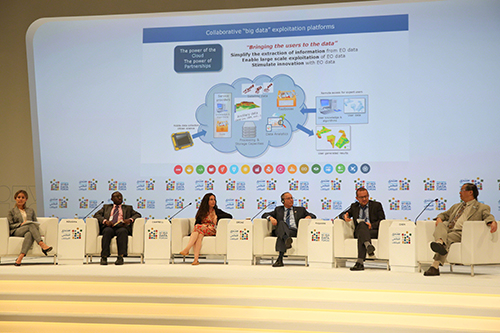 "Six panelists of the session ""Earth Observation Applications for the Sustainable Development Goals: Opportunities for Scaling Successful Methods,″ at the second United Nations World Data Forum October 23 in Dubai."