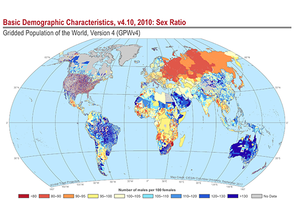 Map of Basic Demographic Characteristics: The proportion of males to females in the Global Population
