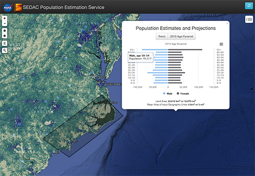 screen capture from the updated Population Estimator mapping tool depicts an area along the coast of Wilmington, North Carolina, affected by Hurricane Florence in fall 2018